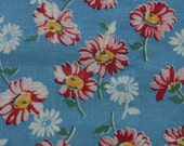 Bright Blue Feedsack with Pink and White Daisies M
