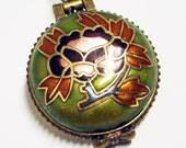 SALE - SAGE GREEN Enamel Painted Floral Locket Antiqued Brass Necklace