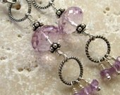 Long Pink Amethyst Earrings Sterling Silver Rope Links