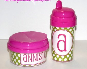 Personalized 10oz Sippy Cup and Snack Cup Set Pink