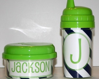 Personalized 10oz Sippy Cup and Snack Cup Set Lime