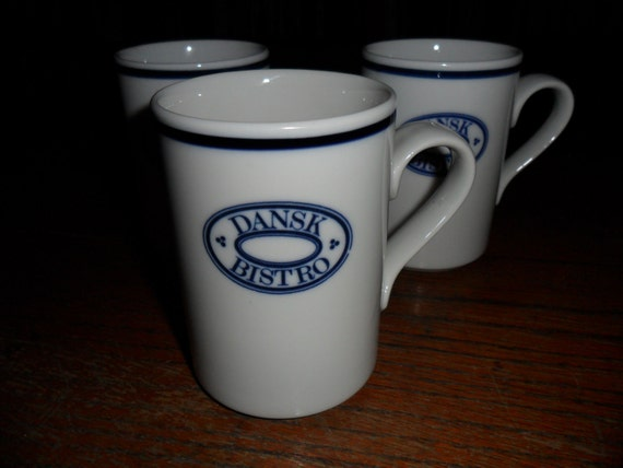 vintage Christianshavn Dansk Bistro coffee mugs, lot of 3