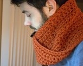 Wool Twist Cowl with Leather Detail