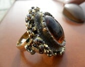 SALE Large Funky Vintage Ring with Brown Stone and Gold Tone Metal