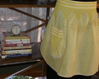 Sunshine and Lemondrops Vintage Yellow Gingham Smocked Apron
