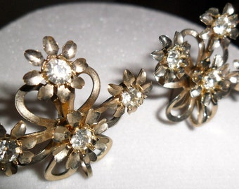 Vintage Gold and Rhinestone Flower Earrings with Screw-backs