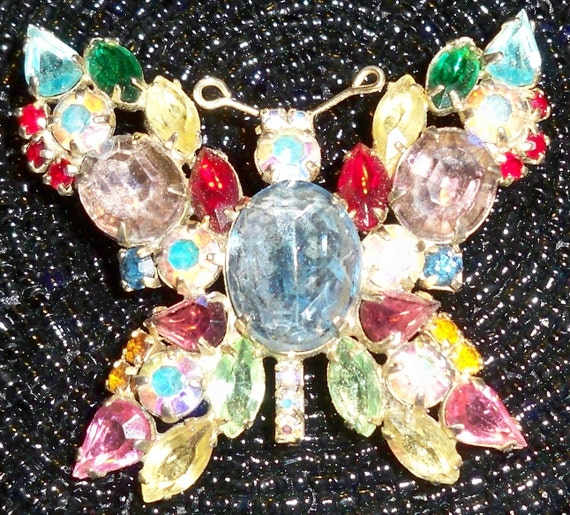 SALE Beautiful Colorful Butterfly Multistone Vintage Brooch for your purse or your lapel