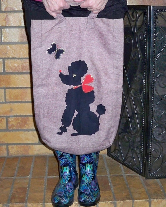 Hip Black Poodle and Butterfly Bag Perfect For Shopping