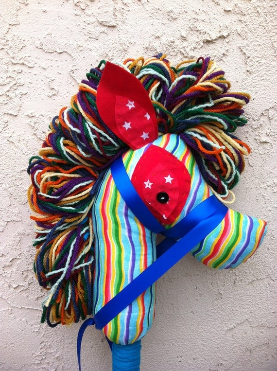 Rainbow Hobby Horse Stick Pony Puppet upcycled recycled imaginative play