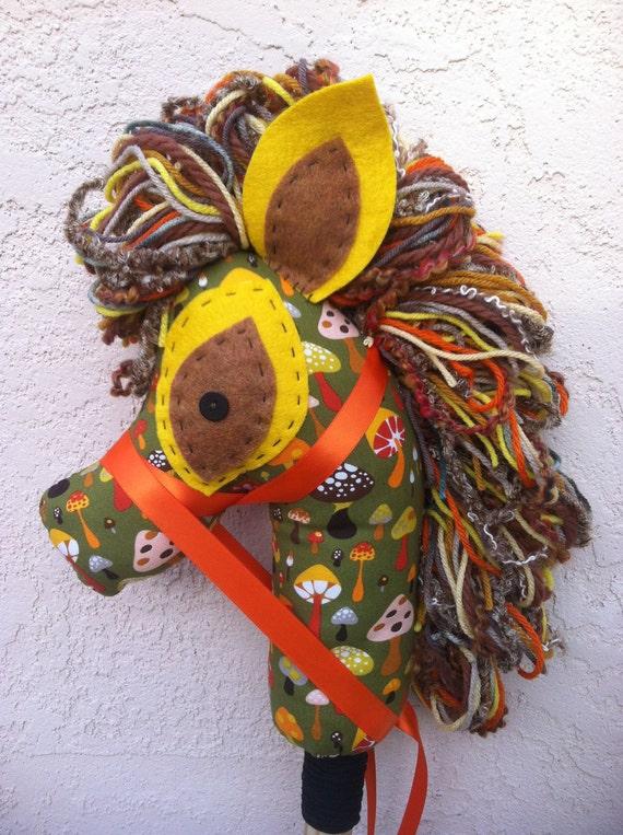 Mushroom Hobby Horse, Stick Pony, Upcycled, Recycled, Puppet, Manely Recycled