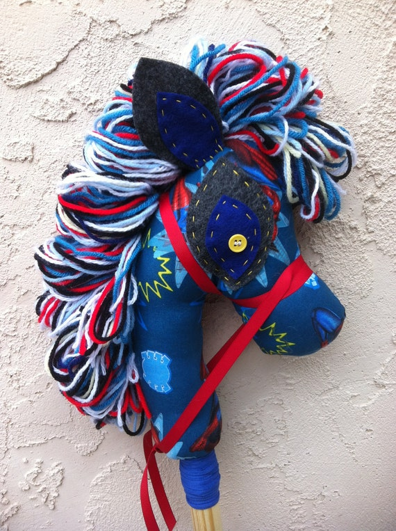 Superhero Comic Book hobby horse, stick pony, upcycled, recycled Manely Recycled by audioamy