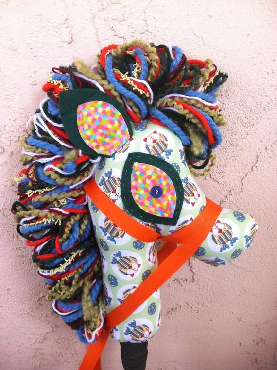 Rainbow Owl hobby horse, stick pony, horse puppet, upcycled