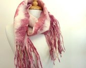 Pink and White Wool Scarf - Fringed Scarf - Striped Scarf