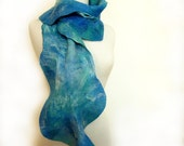 Blue Silk and Wool Scarf. Felted Scarf. Hand Painted Fashion. Blue Wave