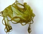 Green Silk Scarf. Silk and Wool Felted Scarves. Spring Fashion Scarf.