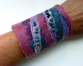 Fabric Cuff Bracelet. Felted Beaded Cuff. Turquoise.