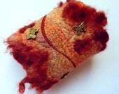 Fabric Cuff. Felt bracelet cuff. Rust. Free Shipping