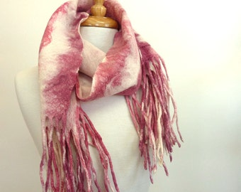 Pink and White Wool Scarf - Fringed Scarf - Striped Scarf - ON SALE