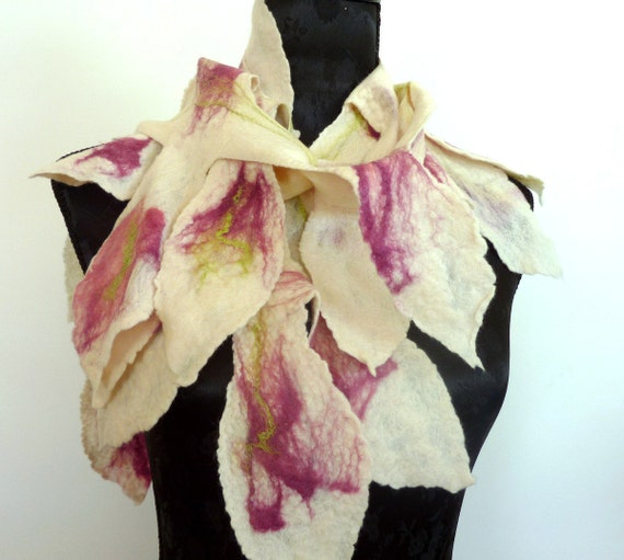 Wearable Art Scarf. Falling Leaves Felted Wool Scarf. DISCOUNTED
