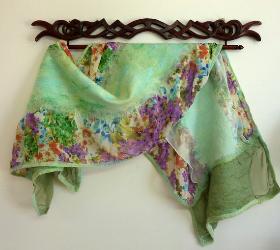 Shabby Chic Scarves. Womens Floral Silk and Wool Wrap. Spring Flowers