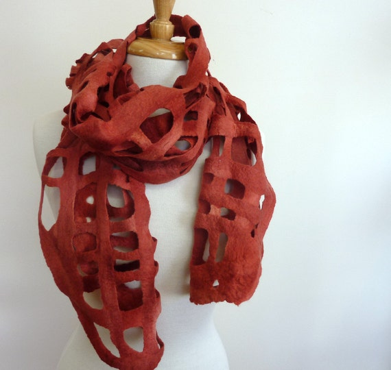 Felted Wool Scarves. Felt Scarf. Red Felted Web Scarf. Made in Australia . Red Ochre