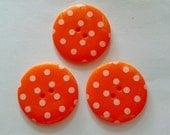 24 pcs Cute Retro Style Buttons 19 mm Orange Color