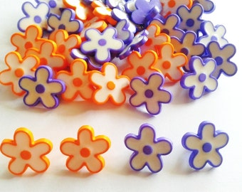 30 pcs Cute miniature flower shank button Orange & blue flower