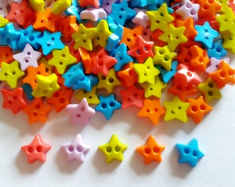 100pcs Star Tiny Buttons 2 Holes - Size 6 mm new color