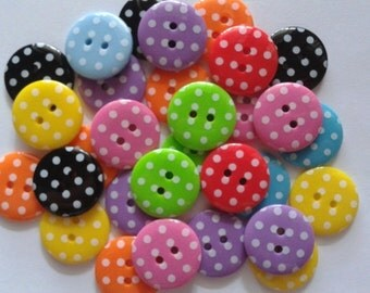 25 pcs Cute Retro polka dot Buttons 19mm Mix color
