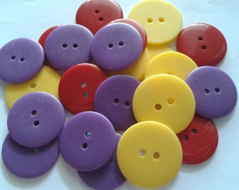 25pcs Plain Buttons 25mm Mix Colours
