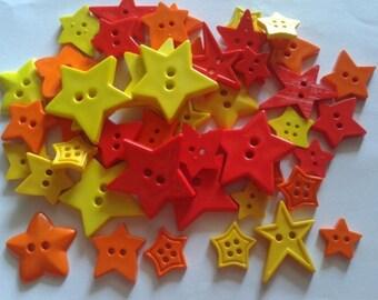 30 pcs Cute star button 2 hole mix size