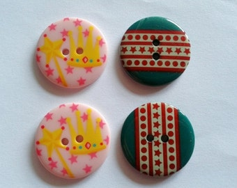 15 pcs Cute Retro Buttons 25 mm  Crown and star