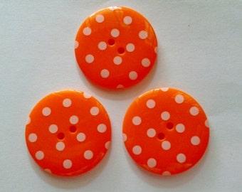 30 pcs Cute Retro Style Buttons 15 mm Orange Color