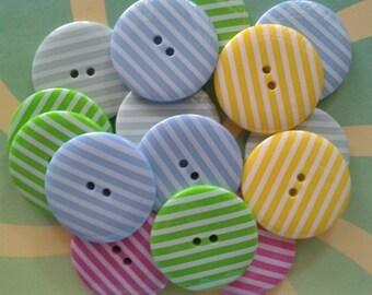 10 pcs Cute Retro Stripe Buttons 33 mm Mix Color