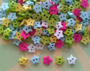 80pcs Fancy star Buttons 2 Holes - Size 10 mm mix color