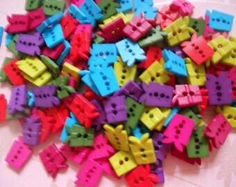 30 pcs Cute gift box  button 2 hole mix color 10 x 13 mm