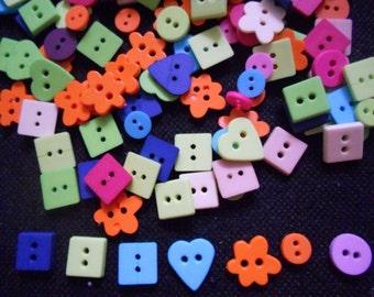 100 pcs  Fancy Buttons 2 holes - Square, Round, heart button