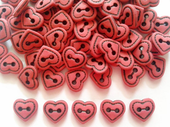 30 pcs Cute Brown heart button 2 hole size 10 mm