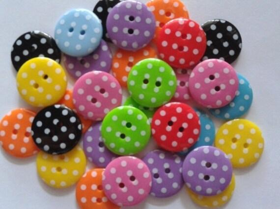 25 pcs Cute Retro polka dot Buttons 19mm Mix color
