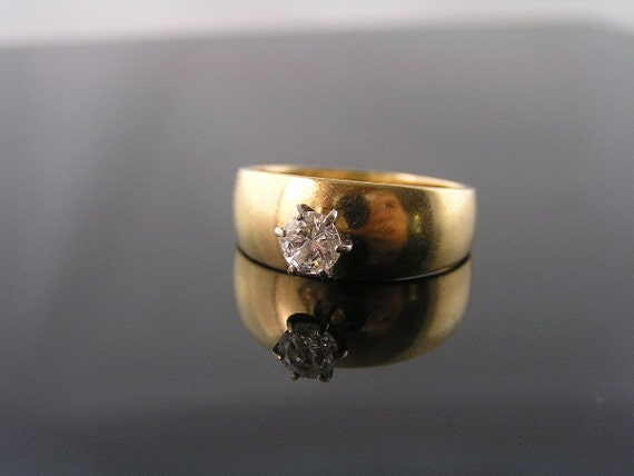 Diamond Ring, Wide Band with Solitaire, 14K Yellow Gold, nearly 1/2