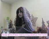 Chunky Hooded Scarf (hoodie) PDF Knitting Pattern - Now with FREE matching PDF Beanie pattern