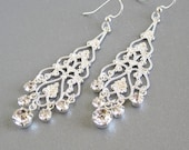 Bridal rhinestone chandelier earrings silver filigree