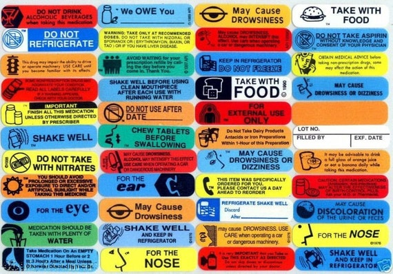 50 Plus Small Warning Labels For Pharmacy And Drug Store