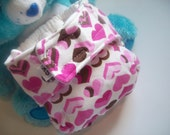 Heart Print Organic Cotton NB/XS Cloth Diaper