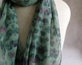 Silk Chiffon Hand Dyed Scarf (Pistachio, Green, Fuchsia)