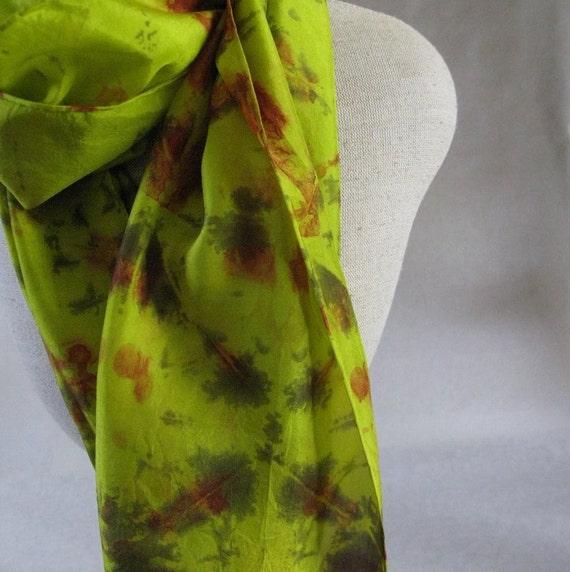 Shibori Habotai Silk Scarf (Chartreuse, Grey, Red)