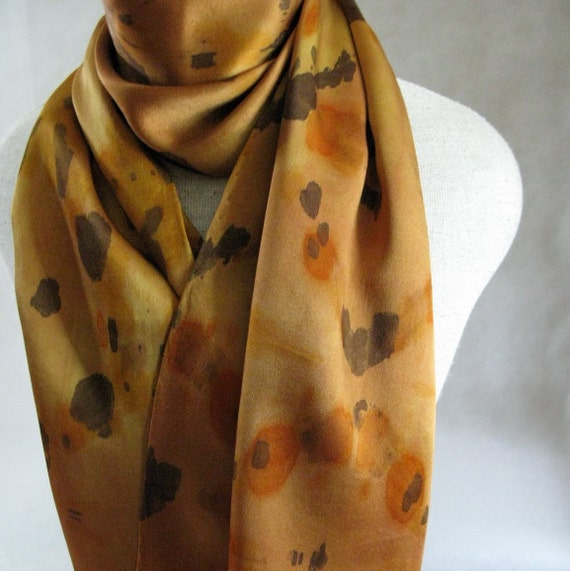 Charmeuse Shibori Silk Scarf (Bronze,Gold, Brown)