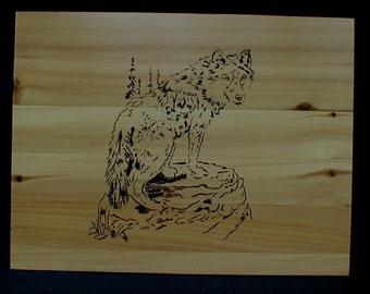 Handmade Maine Cedar Box Wildlife Timber Wolf Hunter Sportsman