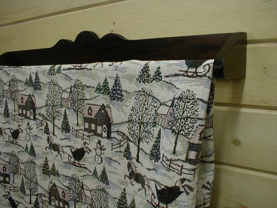36 in Wall Mounted Pine Quilt Rack Dark Walnut