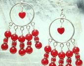 Red Onyx Chandelier Earrings w Heart in Sterling